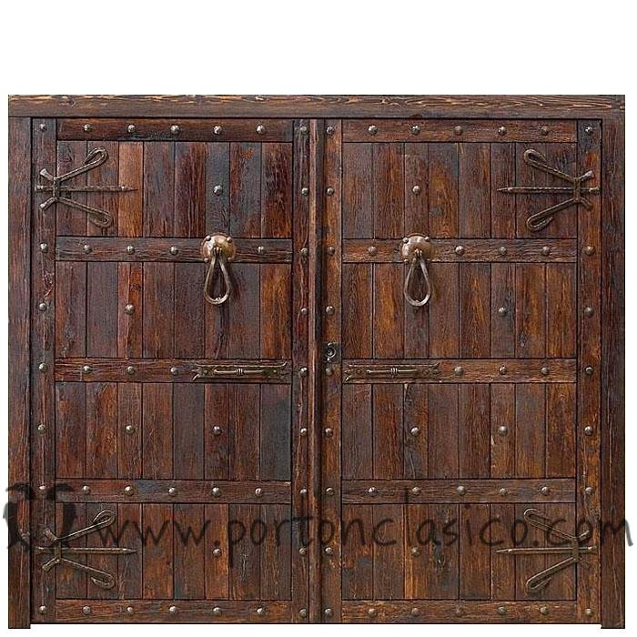 Porton toledo port n cl sico for Puertas de madera para garage
