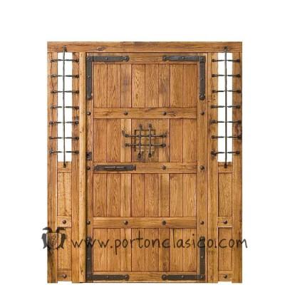 Puerta r stica granada 220x175x8 2 fijos no m viles for Puertas rusticas de madera