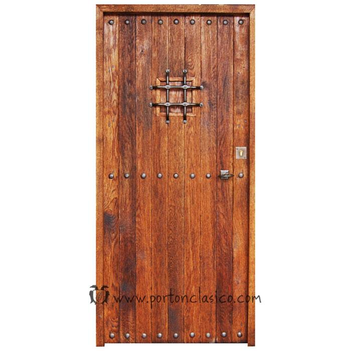 Puerta r stica pals 205x96x4 5 port n cl sico for Puerta madera rustica