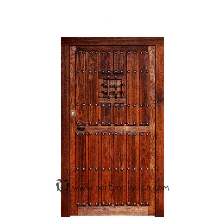 Puerta r stica ronda 220x120x8 port n cl sico for Puertas de madera para cochera