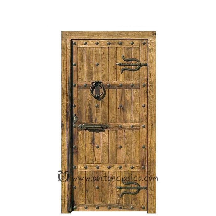 Puerta r stica toledo 220x110x8 port n cl sico for Puerta madera rustica