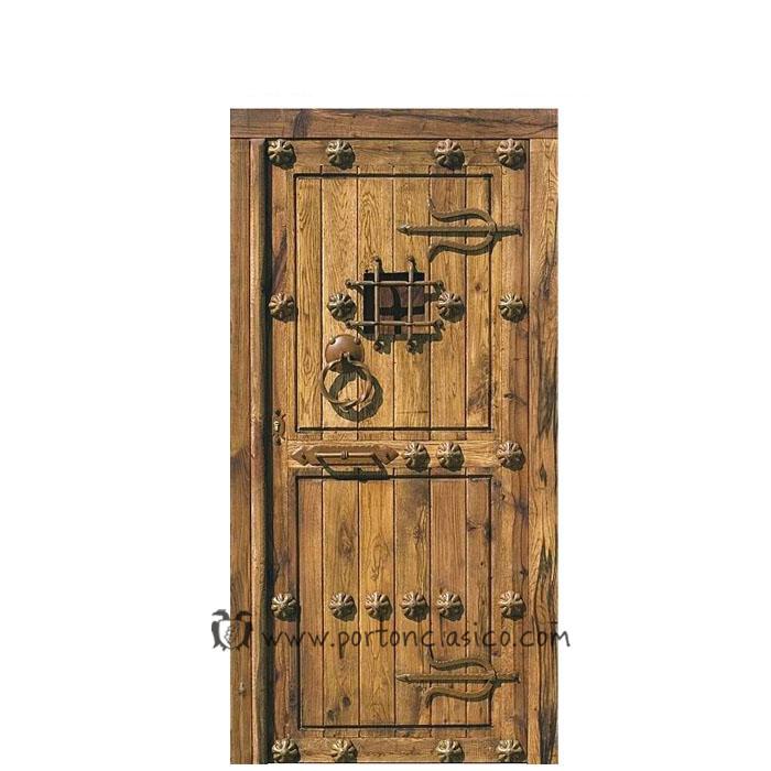 Puerta r stica sefarad 220x110x8 port n cl sico - Herrajes rusticos para puertas ...