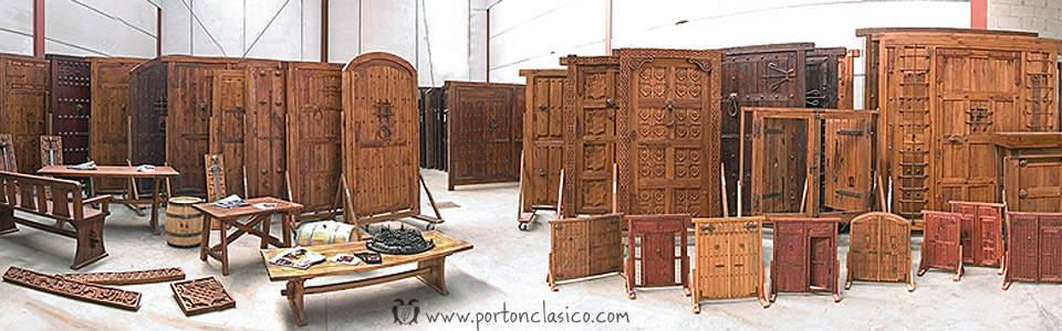 Puertas de madera y portones r sticos port n cl sico for Saguan de madera