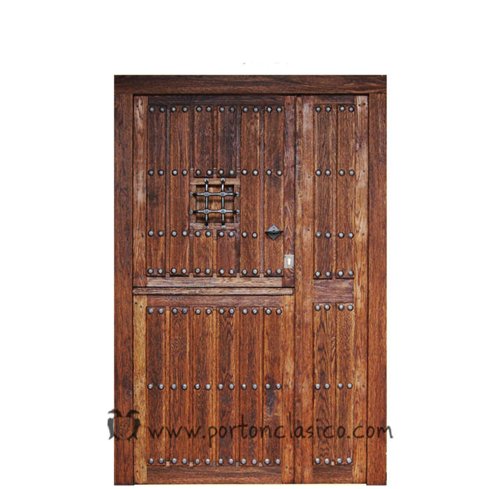 Puerta rústica partida Ambrosia 220x150x8 +1fijo móvil