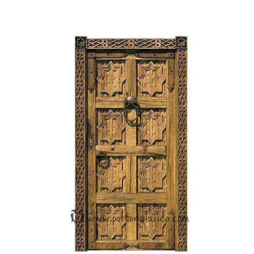 Puerta rústica tallada Fez 220x110x8