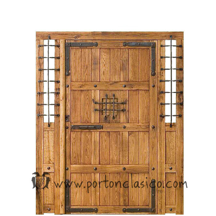 Puerta rústica Granada 220x175x8 +2 fijos no móviles