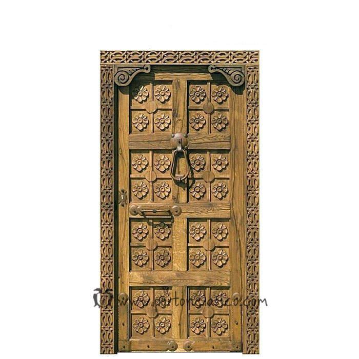 Puerta rústica tallada Valencia 220x110x8